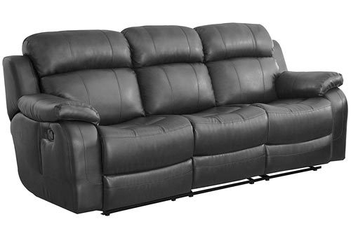Homelegance Marille Reclining Sofa w/Center Console Cup Holder, Black Bonded Leather
