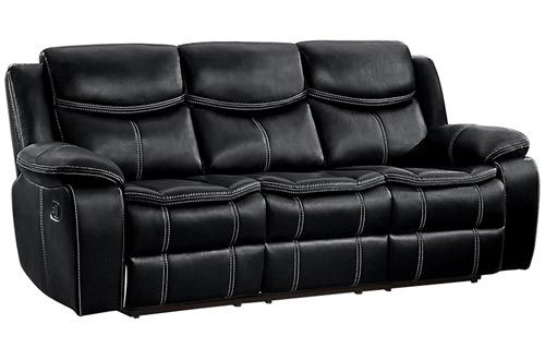 Homelegance Bastrop Double Reclining Sofa Leather Gel Matched with White Accent Stitching, Black