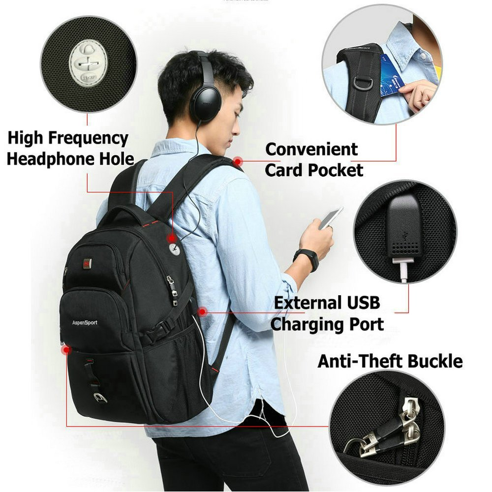 Anti-Theft Men Women Travel Backpack External USB Charge Port Laptop School Bags