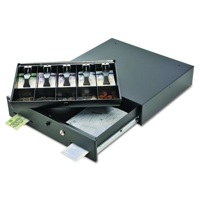 SteelMaster 225106001 Alarm Alert Steel Cash Drawer w/Key & Push-Button Release Lock, Black