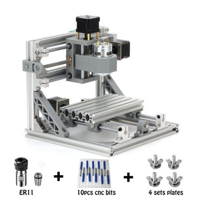 CNC Router Engraving Machine with 5mm ER11, 160x100mm, PCB PVC Wood Metal Milling Machine + 10PCS CNC Router Bits + 4 Sets CNC Plates