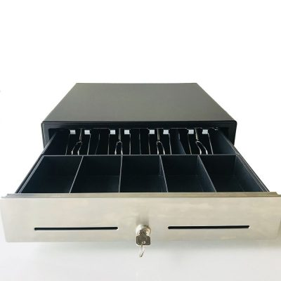 "16"" POS Cash Drawer Stainless Steel Front,Removable Tray,5Bill/5Coin,RJ11 Cable Included,Key Lock,Black,BK1616B"
