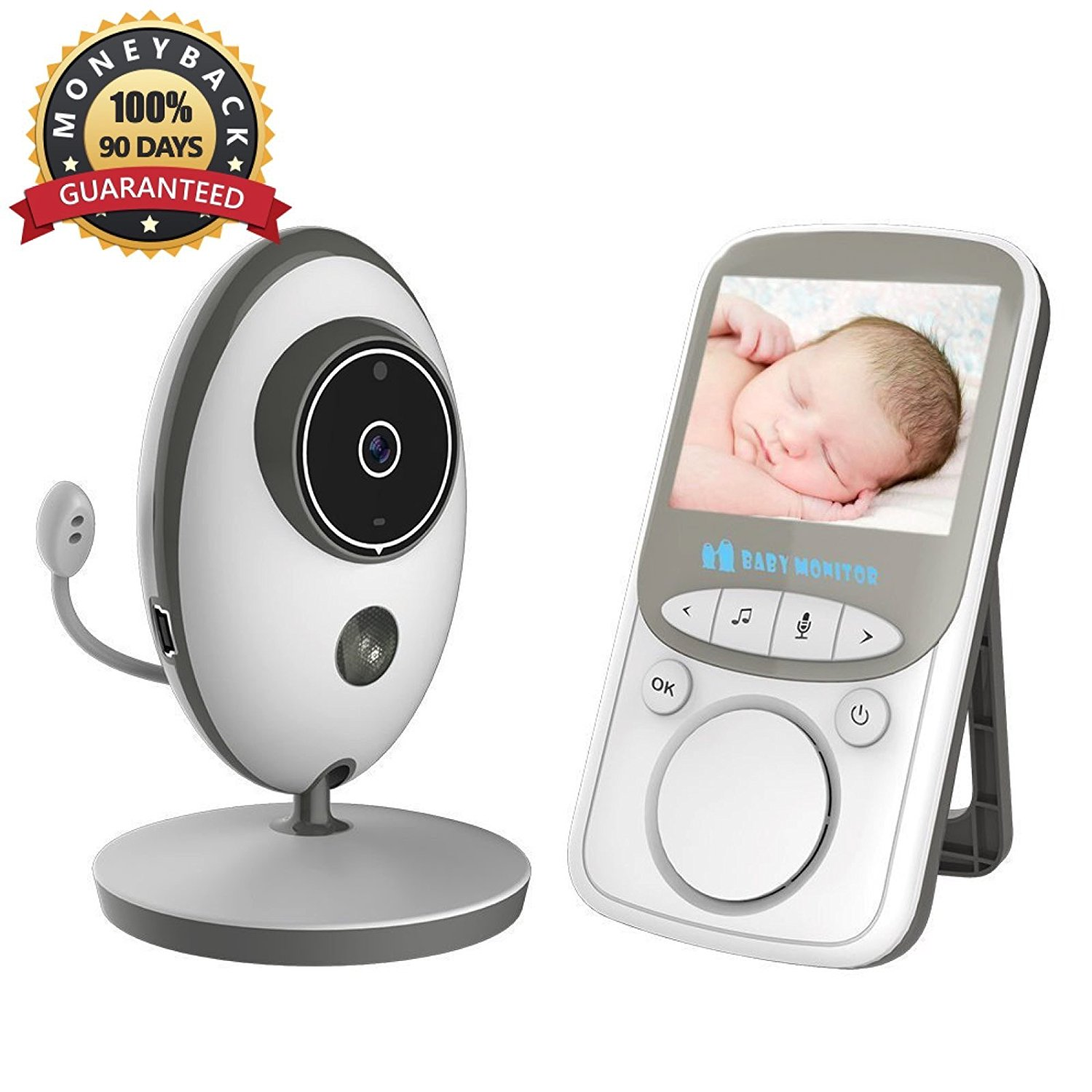 Video Baby Monitor Wireless with Digital Camera,Anmade 2 Way Talkback, 2.4inch Screen Night Vision Temperature Monitoring Lullabies Long Range and High Capacity Battery for Security