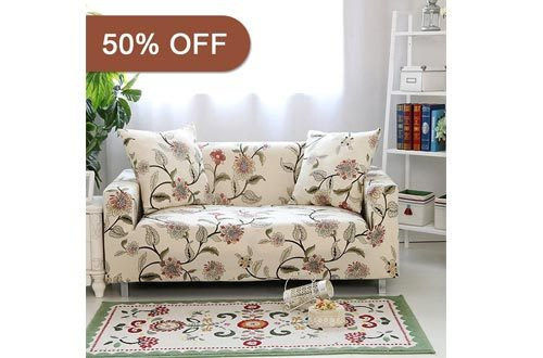"Lamberia Spandex Fabric Stretch Sofa Slipcover Couch Covers For 3 Cushion Couch With One Pillow Case 70""-90"" Blooming Flower"