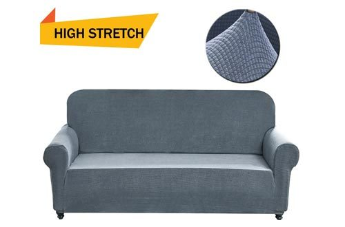 Chelzen Stretch Sofa Covers Polyester Spandex Fabric Couch Slipcovers (Loveseat, Light Gray)
