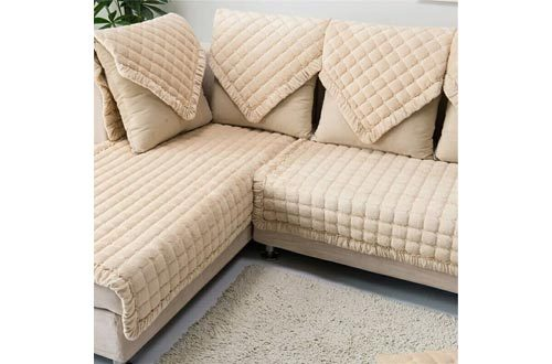 "OstepDecor Multi-size Pet Dog Couch Square Soft Quilted Furniture Protectors Covers for Sofa, Loveseat | ONE PIECE | Backing and Armrest Sold Separately | Beige 36"" W x 36""L (90 x 90cm)"
