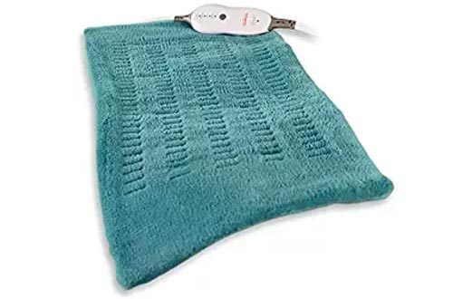 "Sunbeam King-Size Microplush/SoftTouch Heating Pad, 4 Heat Settings, 2-Hour Auto-Off, Digital LED Controller, 12"" x 24"", Teal"
