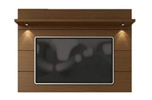 "Manhattan Comfort Cabrini 1.8 Panel Collection Floating Wall TV Panel TV Wall Mount with Shelf, 71.25"" L x 8.46"" D x 94.35"" H, Nut Brown"