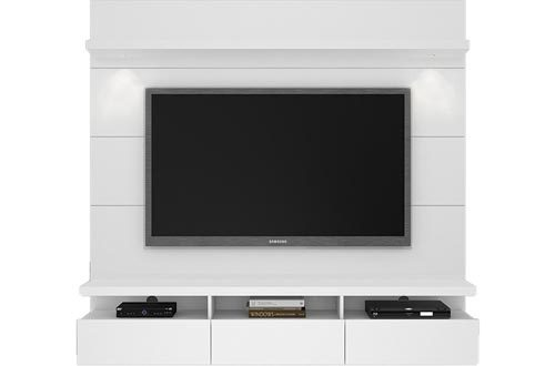 "Manhattan Comfort Cabrini Theater Panel 1.8 Collection TV Stand with Drawers Floating Wall Theater Entertainment Center, 71.25"" L x 16.73"" D x 67.24"" H, White"