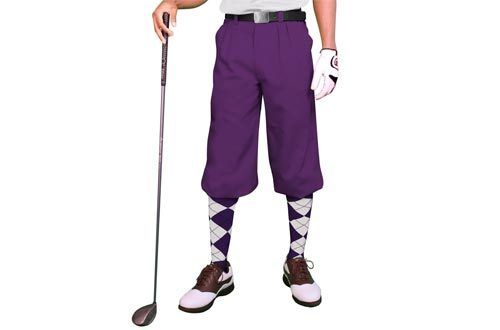 Purple Golf Knickers: Mens 'Par 3' - Microfiber