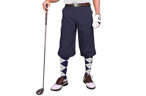 Navy Golf Knickers: Mens 'Par 3' - Microfiber
