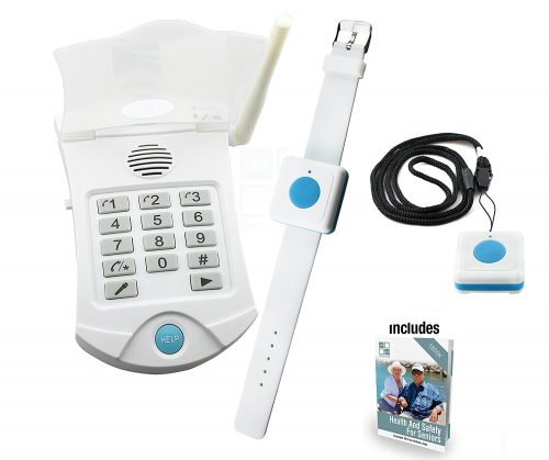 Medical Alert Systems for Seniors No Monthly Fee medical alert system - no monthly charges - Includes WATERPROOF Pendant and Wrist Wireless Help Buttons