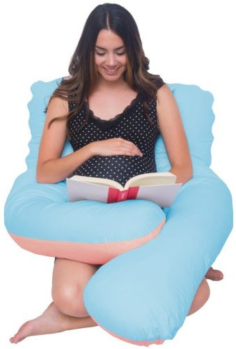 Meiz U Shaped Body Pregnancy Maternity Pillow with Zipper Removable Cover - Blue&Pink