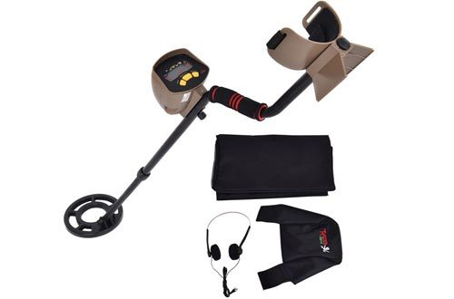 "Goplus Waterproof Metal Detector 8.3"" Depth Sensitive Underground Gold Search w/ Headphones & Backpack MD-6200"