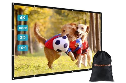 """GBTIGER 150 inch Outdoor Movie Projector Screen with Bag, 150"""" 16:9 Portable Folding Outdoor Movie Screen for Home Cinema Theater Movies Presentation Education Outdoor Indoor Public Display etc."""