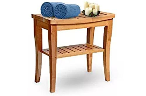 House Ur Home Bamboo Shower Seat Bench Spa Bath Deluxe Organizer Stool With Storage Shelf For Seating Perfect For Indoor Or Outdoor -Plus Free Value Gift Including- One year Warranty, By