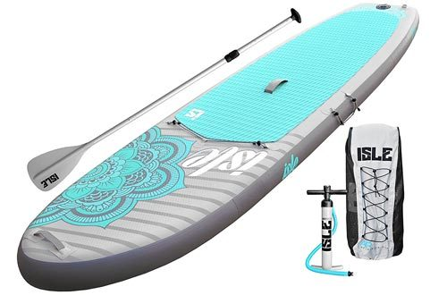 "ISLE 10'4 Airtech Inflatable Yoga Stand Up Paddle Board (6"" Thick) iSUP Package 
