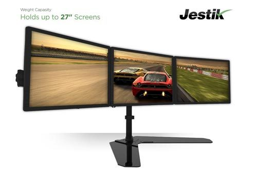 "Jestik Horizon Triple Monitor Stand- LCD Monitor Stand, Monitor Mount, Triple Monitor Arm - Shift The Way You Work - 3 Screens Up To 27"" Monitors, 17.6 lbs Capacity Per Mount, With Clamp Mount Option"