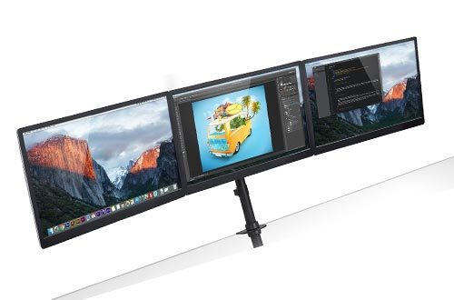 Mount-It! Triple Monitor Mounts 3 Screen Desk Stand for LCD Computer Monitors for 19 20 22 23 24 27 Inch Monitors VESA 75 and 100 Compatible Full Motion, 54 lbs Capacity (MI-1753)