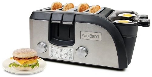 West Bend Toaster Oven Breakfast Station, Egg and Muffin Sandwich Maker, Silver-Black - TEMPR100