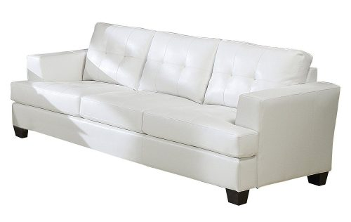 ACME-15095-Platinum-White-Sofa White Leather Sofa