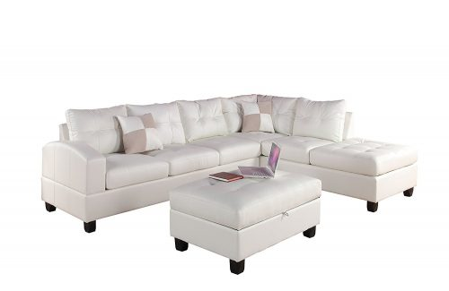 Acme Furniture ACME Kiva White Bonded Leather Reversible Sectional Sofa with 2 Pillows