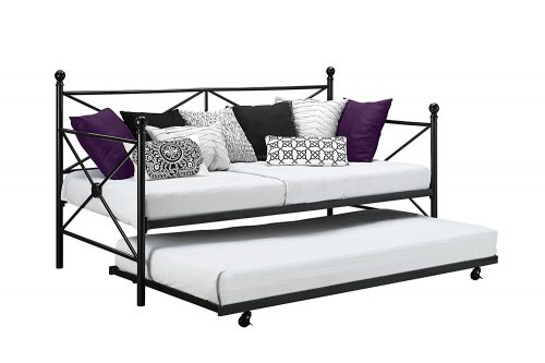 DHP Sturdy Modern Metal Daybed Roll Out Trundle Combo, Crisscross Design, Twin Size Trundle Beds