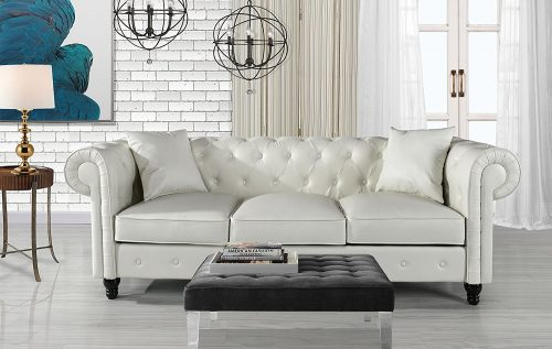 Divano Roma Furniture Classic Living Room Bonded Leather Scroll Arm Chesterfield Sofa