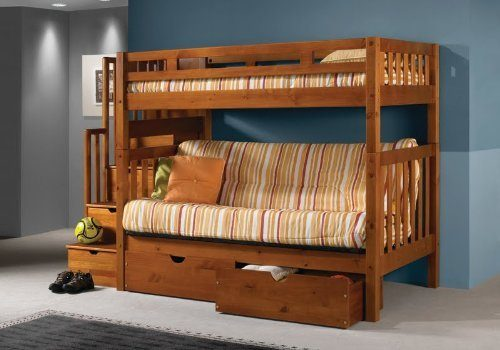 Futon-Mission-Honey-Stairway-Drawers