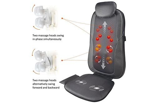Snailax Finger Pressure Massage Seat Cushion with Heat, 2D/3D Shiatsu Back Massager Kneading,Rolling,Spot, Massage Chair Pad, Relieve Neck, Shoulder, Back Pain SL269
