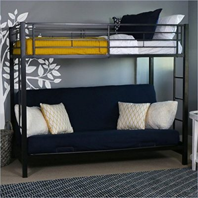 Sturdy-Metal-Twin-over-Futon-Black-Finish Futon Bunk Bed