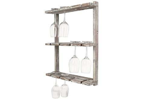 Distressed Barnwood Brown Wall Mounted 12 Wine Glass Holder Rack, Inverted Stemware Display