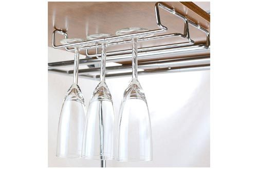DecoBros 2PK Single Rail Wine Glass Racks, Chrome