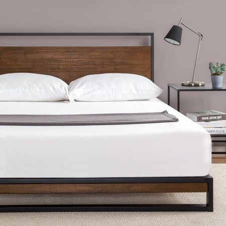 Zinus Ironline Metal and Wood Platform Beds, Durable Wooden Bed