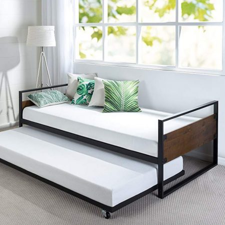Zinus Ironline Twin Daybed and Trundle, Trundle Beds for Kids