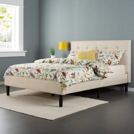 Zinus Upholstered Button-Tufted Platform Bed