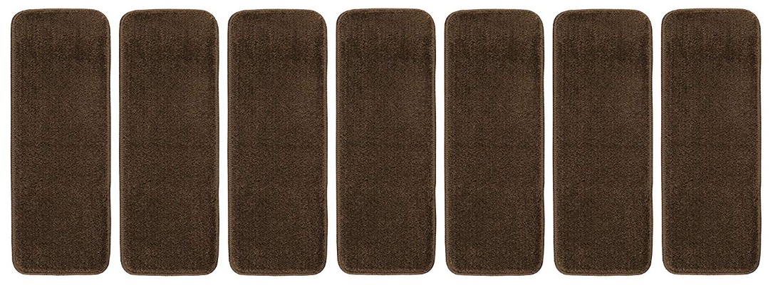 Ottomanson Softy Stair Tread Mats, Skid resistant, Rubber Backing, Non-Slip Carpet