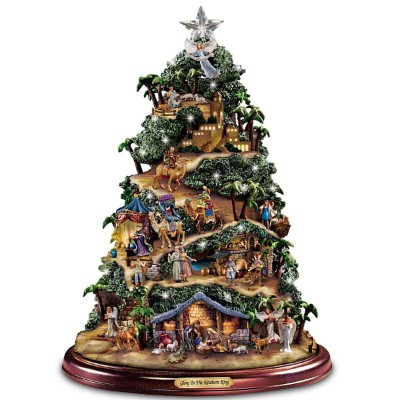 Thomas Kinkade Illuminated Nativity Tabletop Tree