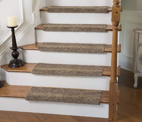 Tread Comfort Caprice Bullnose Carpet Stair Tread with Adhesive Padding