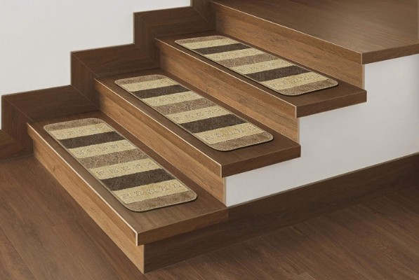 Ottomanson Softy Stair Treads Brown Striped Design Skid