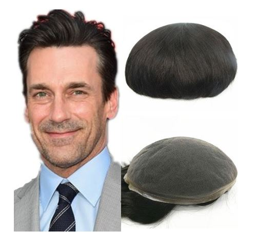 "N.L.W. European virgin human hair toupee for men with SOFT THIN Super Swiss lace, 10"" x 8"" Straight hair pieces for men #2 Dark brown"