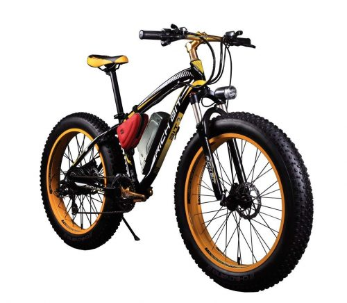 RICH BIT TP012 Electric Fat Bike Mountain Bicycle Snow Bike Cruiser Ebike 1000 Watt Motor 48V 17Ah Lithium-ion Battery 26'' 4.0 inch Fat Tire Suspension Fork Yellow