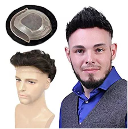 Human Hair Toupee for Men Fine Mono Top with PU Skin around and Lace Front, LLWear 8x10 Inch Mens Hair Piece Replacement System Natural Wave Off Black(#1b)
