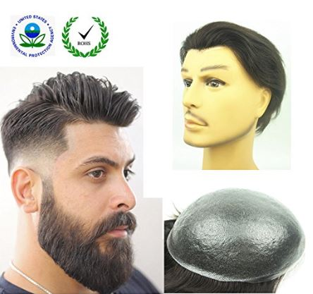"PU Skin Toupee for Men, N.L.W. European Human Hair Pieces for Men with 10"" x 8"" PU Thin 0.04cm Skin, 1 Jet Black"