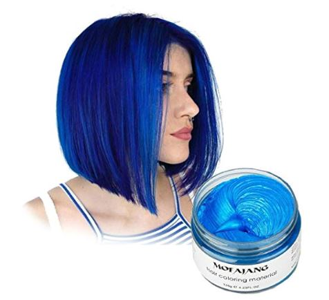 Vakker Hair Wax Color Styling Cream Mud, Natural Hairstyle Dye Pomade, Party Cosplay, Blue