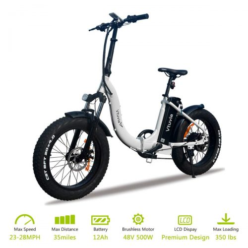 VTUVIA Folding Electric Bicycle With Waterproof 500W Motor And 48V 12AH Removable Samsung Lithium-Ion Battery 20 Inch Fat Tire Bike City Mountain E-Bike For Adults (Men And Women)