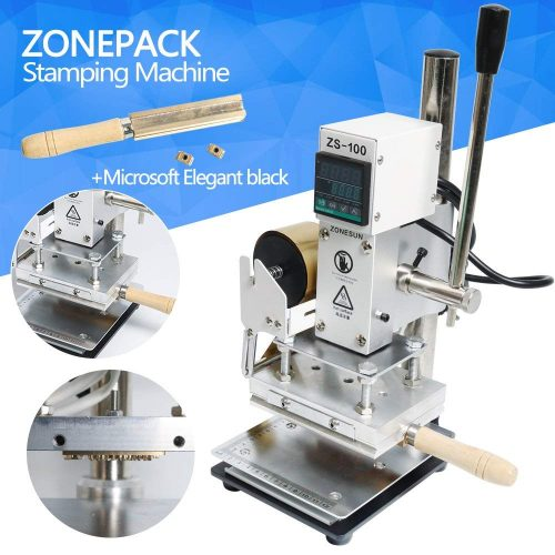 ZONEPACK Digital Embossing Machine with Stamping Letter Hot Foil Stamping Machine Manual Tipper Stamper for PVC Leather Pu and Paper Stamping with Paper Holder (Machine with Microsoft Elegant Black)