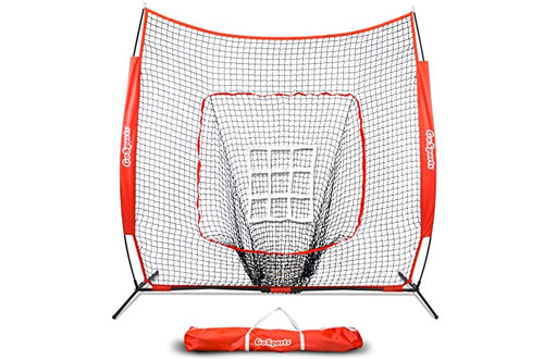 Baseball & Softball Practice Hitting & Pitching Net with Bow Frame