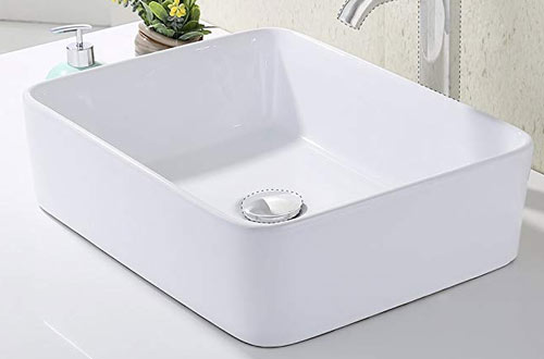 KES Bathroom Rectangular Porcelain Vessel Sink