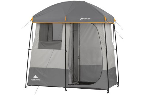 2-Room Non-Instant Shower Tent with 5-Gallon Solar Heated Shower